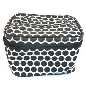 White Black Circle Soft Molded Cosmetic Train Case